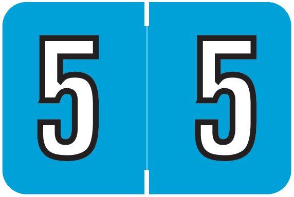 Barkley FNBKM Match BRNM Series Numeric Roll Labels - Number 5 - Blue