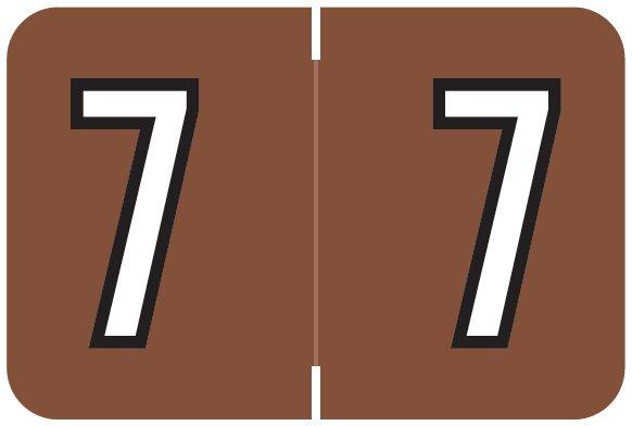 Barkley FNBKM Match BRNM Series Numeric Roll Labels - Number 7 - Brown