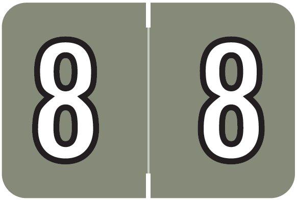Barkley FNBKM Match BRNM Series Numeric Roll Labels - Number 8 - Gray