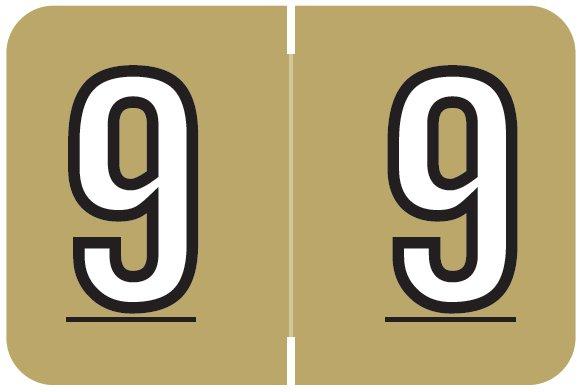 Barkley FNBKM Match BRNM Series Numeric Roll Labels - Number 9 - Gold