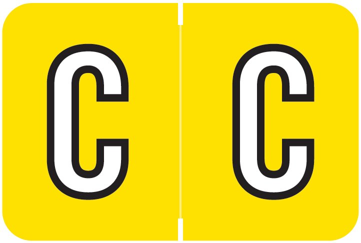 Barkley FABKM Match BRPK Series Alpha Sheet Labels - Letter C - Yellow Label