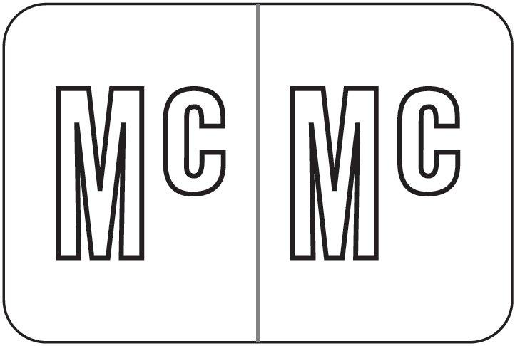 Barkley FABKM Match BRPK Series Alpha Sheet Labels - Letter Mc - White Label