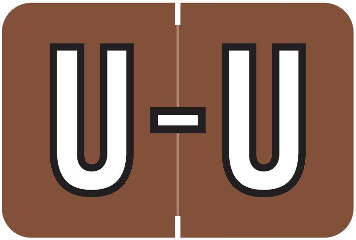 Barkley FABKM Match BRPK Series Alpha Sheet Labels - Letter U - Brown Label