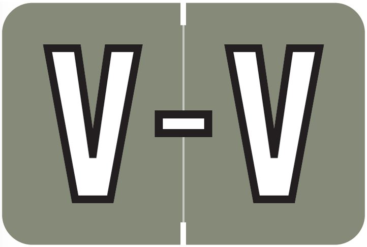 Barkley FABKM Match BRPK Series Alpha Sheet Labels - Letter V - Gray Label