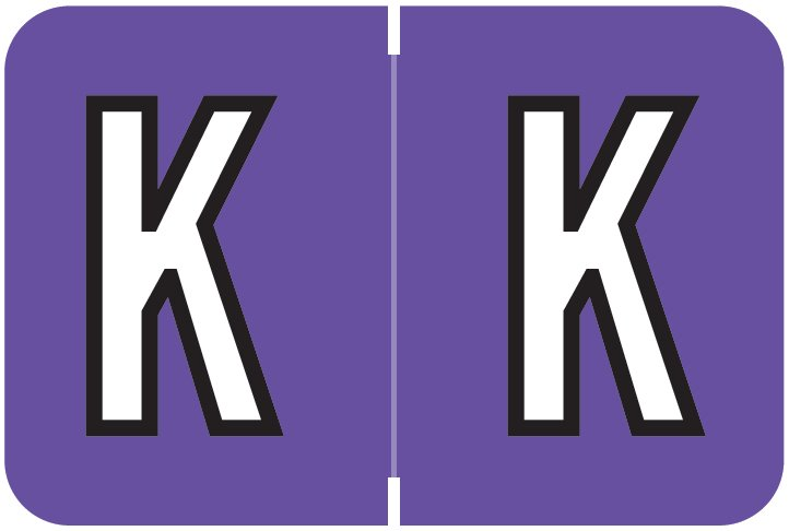 Barkley FABEM Match BXAM Series Alpha Roll Labels - Letter K - Purple Label