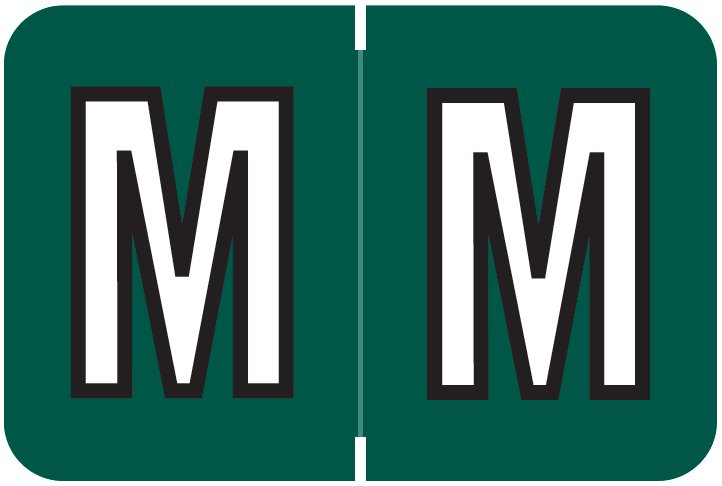 Barkley FABEM Match BXAM Series Alpha Roll Labels - Letter M - Dark Green Label