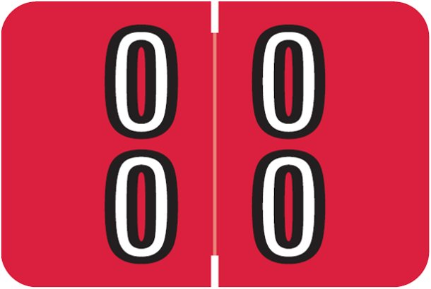 Barkley FDDBM Match BXDM Series Numeric Roll Labels - Number 00 To 09 - Red