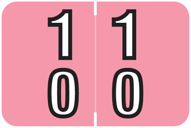 Barkley FDDBM Match BXDM Series Numeric Roll Labels - Number 10 To 19 - Pink