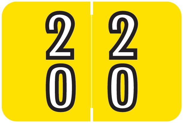 Barkley FDDBM Match BXDM Series Numeric Roll Labels - Number 20 To 29 - Yellow