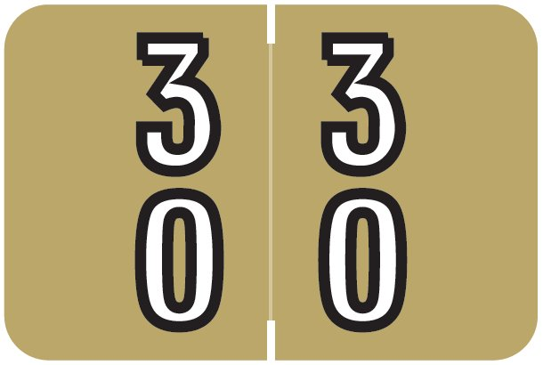 Barkley FDDBM Match BXDM Series Numeric Roll Labels - Number 30 To 39 - Gold
