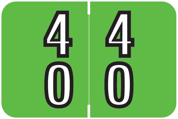 Barkley FDDBM Match BXDM Series Numeric Roll Labels - Number 40 To 49 - Green