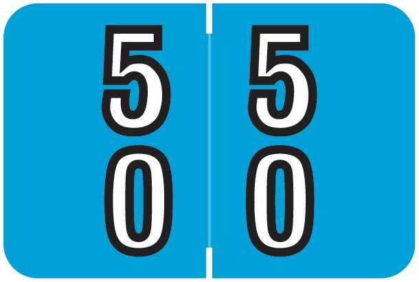 Barkley FDDBM Match BXDM Series Numeric Roll Labels - Number 50 To 59 - Blue
