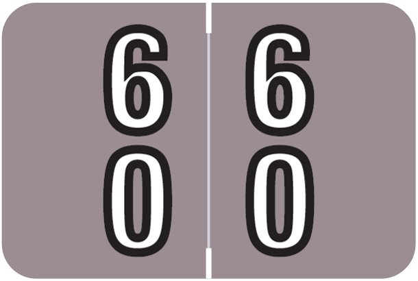 Barkley FDDBM Match BXDM Series Numeric Roll Labels - Number 60 To 69 - Lavender