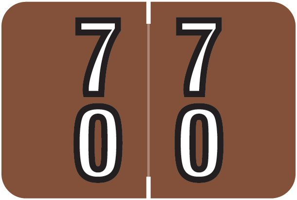 Barkley FDDBM Match BXDM Series Numeric Roll Labels - Number 70 To 79 - Brown