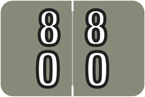 Barkley FDDBM Match BXDM Series Numeric Roll Labels - Number 80 To 89 - Gray