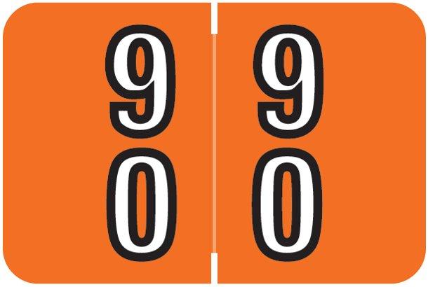 Barkley FDDBM Match BXDM Series Numeric Roll Labels - Number 90 To 99 - Dark Orange