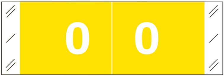 Tabbies 11850 Match CBNM Series Numeric Roll Labels - Number 0 - Yellow