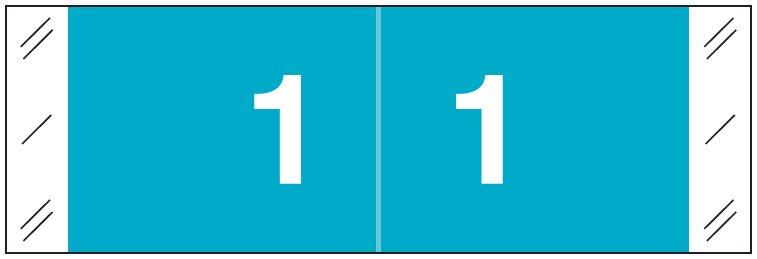 Tabbies 11850 Match CBNM Series Numeric Roll Labels - Number 1 - Light Blue