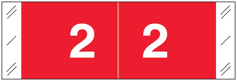 Tabbies 11850 Match CBNM Series Numeric Roll Labels - Number 2 - Red