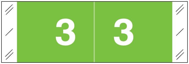 Tabbies 11850 Match CBNM Series Numeric Roll Labels - Number 3 - Light Green