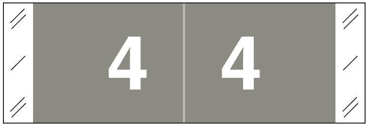 Tabbies 11850 Match CBNM Series Numeric Roll Labels - Number 4 - Gray