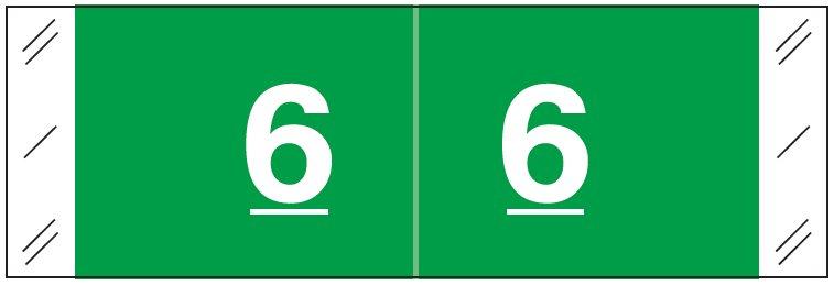 Tabbies 11850 Match CBNM Series Numeric Roll Labels - Number 6 - Dark Green