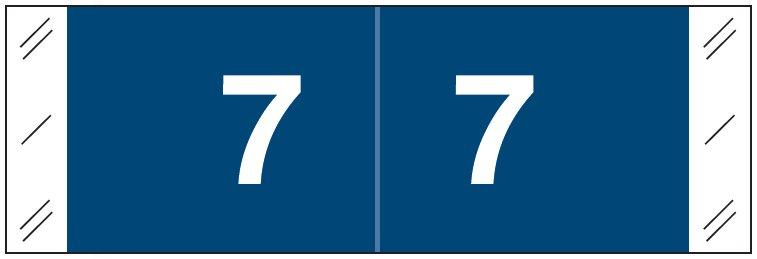 Tabbies 11850 Match CBNM Series Numeric Roll Labels - Number 7 - Dark Blue