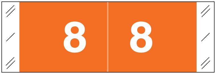 Tabbies 11850 Match CBNM Series Numeric Roll Labels - Number 8 - Orange