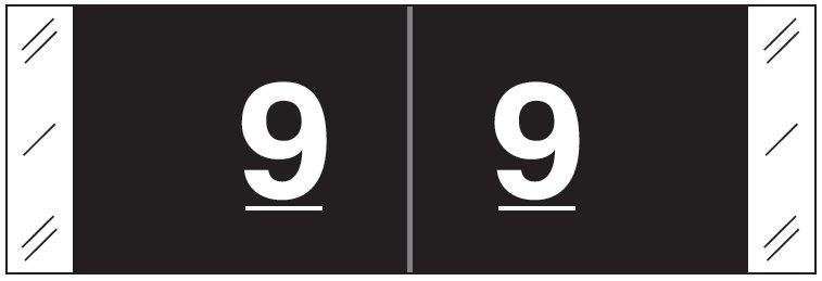Tabbies 11850 Match CBNM Series Numeric Roll Labels - Number 9 - Black