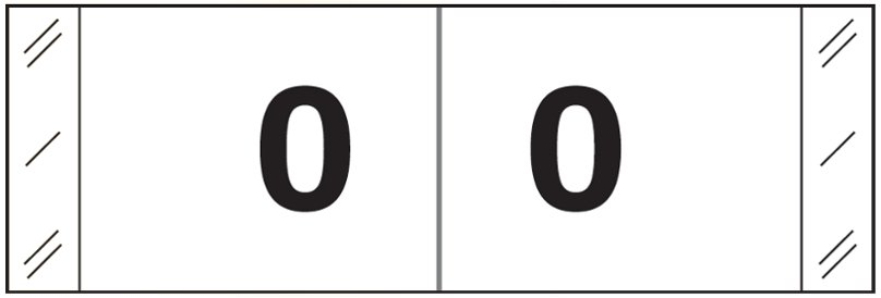 Tabbies 11830 Match CBWM Series Numeric Roll Labels - Number 0 - White