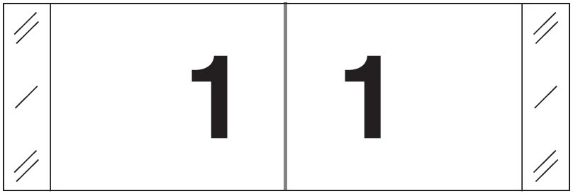 Tabbies 11830 Match CBWM Series Numeric Roll Labels - Number 1 - White
