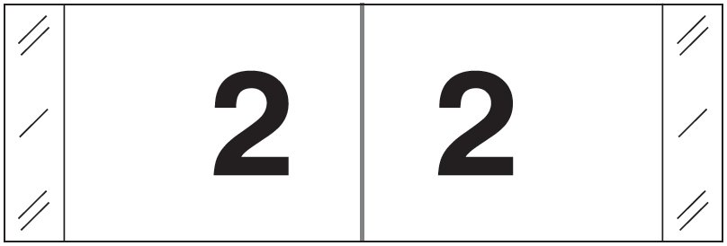 Tabbies 11830 Match CBWM Series Numeric Roll Labels - Number 2 - White