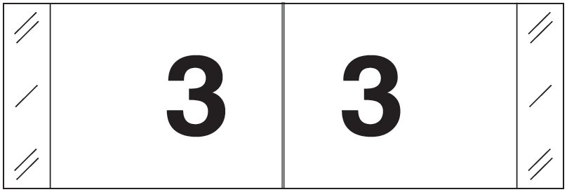 Tabbies 11830 Match CBWM Series Numeric Roll Labels - Number 3 - White