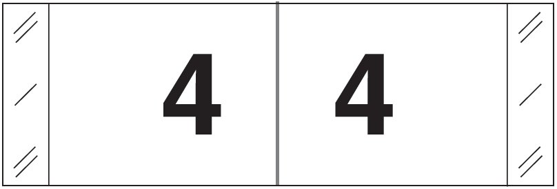 Tabbies 11830 Match CBWM Series Numeric Roll Labels - Number 4 - White