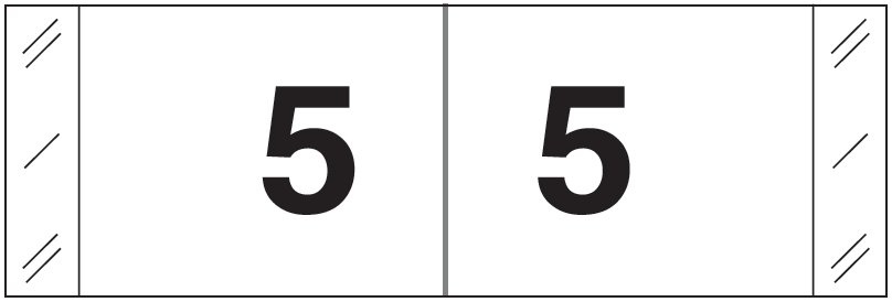 Tabbies 11830 Match CBWM Series Numeric Roll Labels - Number 5 - White
