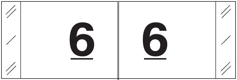 Tabbies 11830 Match CBWM Series Numeric Roll Labels - Number 6 - White
