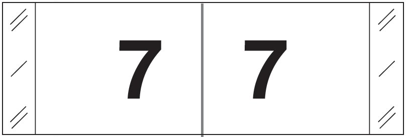 Tabbies 11830 Match CBWM Series Numeric Roll Labels - Number 7 - White