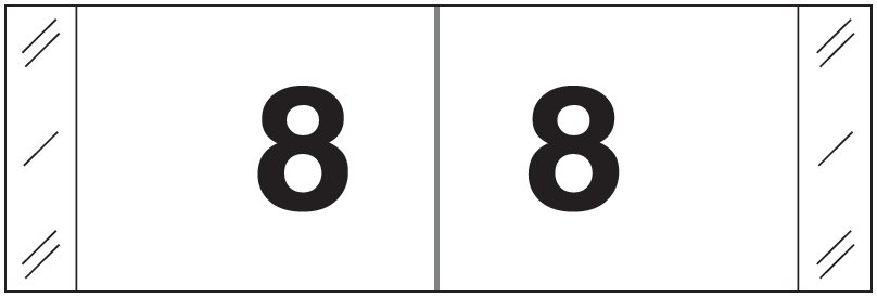 Tabbies 11830 Match CBWM Series Numeric Roll Labels - Number 8 - White