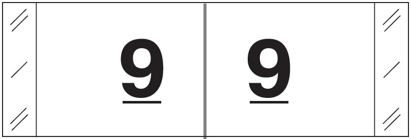 Tabbies 11830 Match CBWM Series Numeric Roll Labels - Number 9 - White