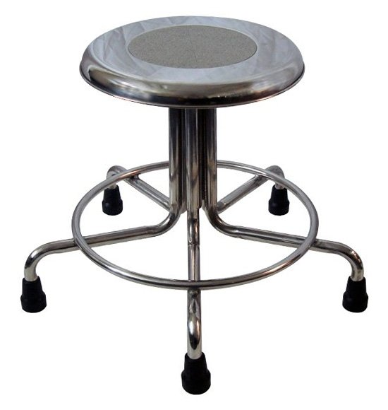 MRI Non-Magnetic Stainless Steel Stool with Rubber Tips - No Backrest - Height Adjustable 15