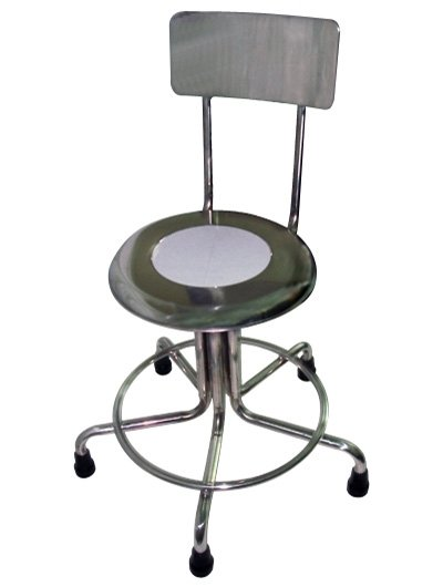 MRI Non-Magnetic Stainless Steel Stool with Backrest & Rubber Tips - 15
