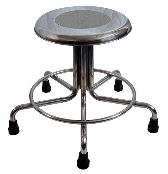 MRI Non-Magnetic Stainless Steel Stool with Rubber Tips - No Backrest - Height Adjustable 21