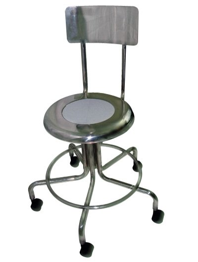MRI Non-Magnetic Stainless Steel Stool with Backrest & Dual Wheel Casters - 15
