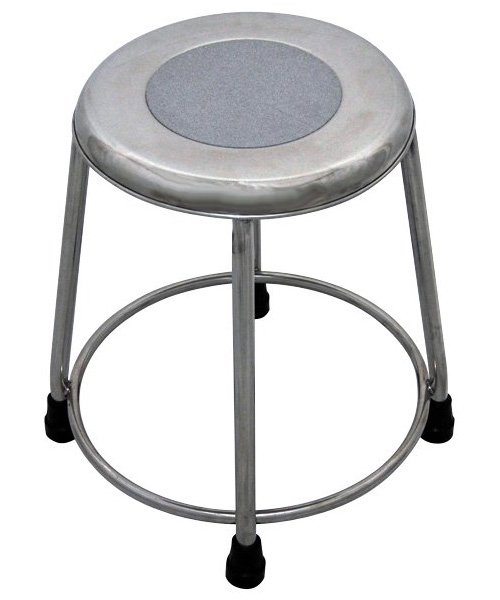 MRI Non-Magnetic Stainless Steel Stool with Rubber Tips - No Backrest - 18