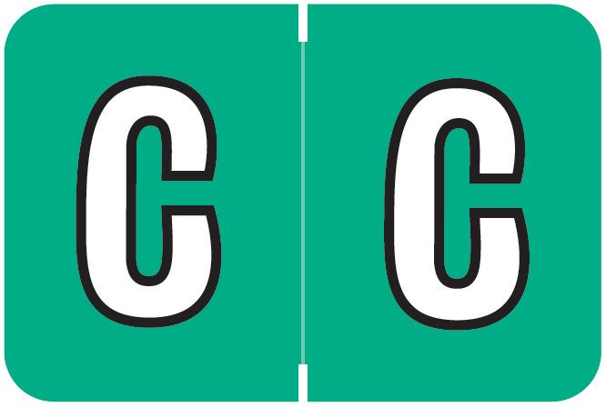 Colwell Jewel Tone Match COAM Series Alpha Roll Labels - Letter C - Jade Label