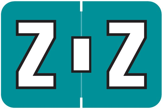 Colwell Jewel Tone Match COAM Series Alpha Roll Labels - Letter Z - Teal Label