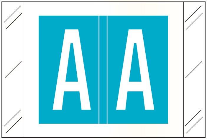 Tabbies 12000 Match CRAM Series Alpha Roll Labels - Letter A - Light Blue Label