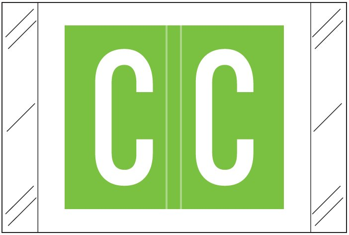 Tabbies 12000 Match CRAM Series Alpha Roll Labels - Letter C - Light Green Label