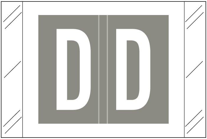 Tabbies 12000 Match CRAM Series Alpha Roll Labels - Letter D - Gray Label