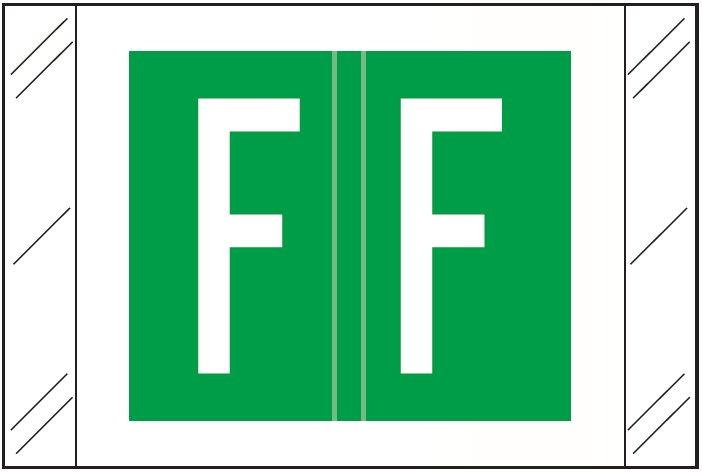 Tabbies 12000 Match CRAM Series Alpha Roll Labels - Letter F - Dark Green Label
